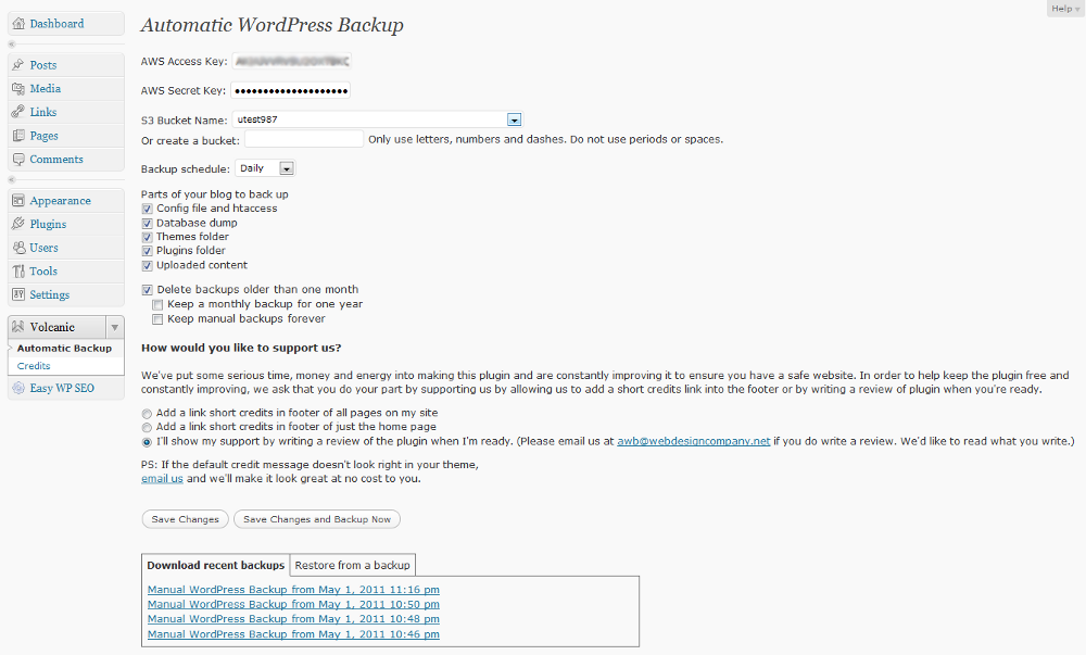 Automatic WordPress Backup Screenshot