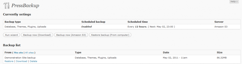 PressBackup Screenshot