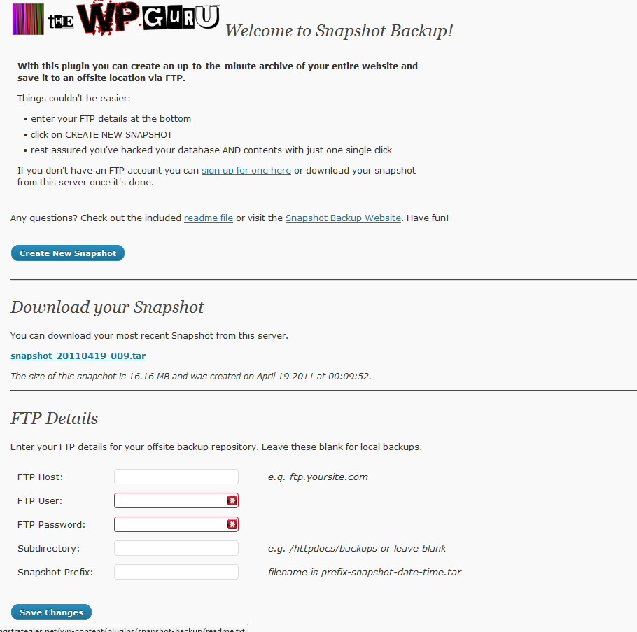 Snapshot Backup Screenshot