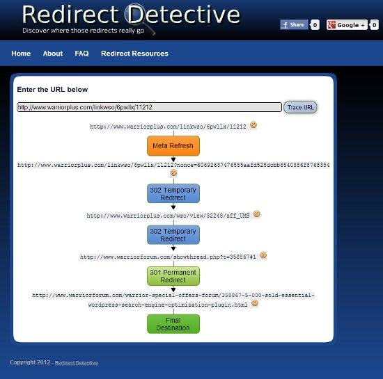Redirect Detective Screenshot